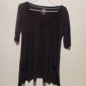 New York & Co. Black Tunic Style 3/4 Sleeve Tee